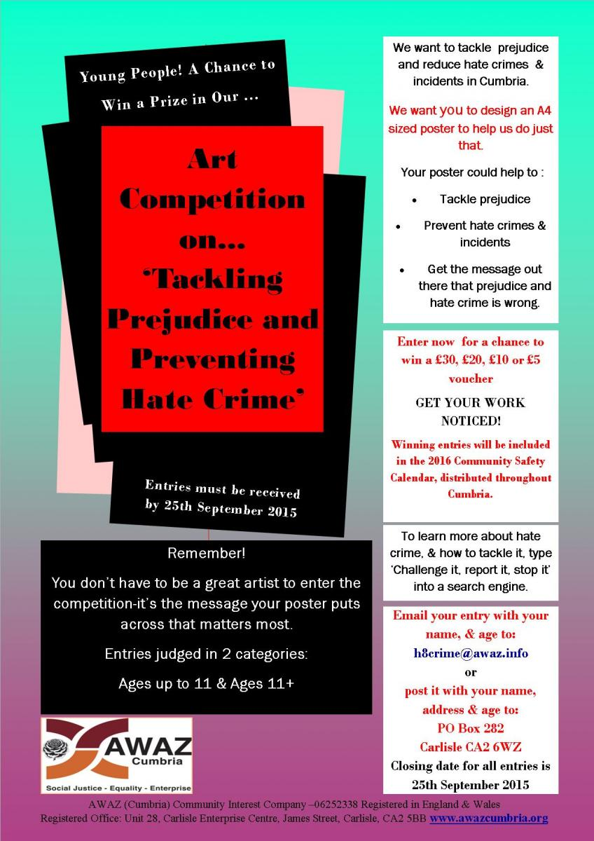 AWAZ Cumbria Art Competition - Tackling Prejudice and Preventing Hate Crime