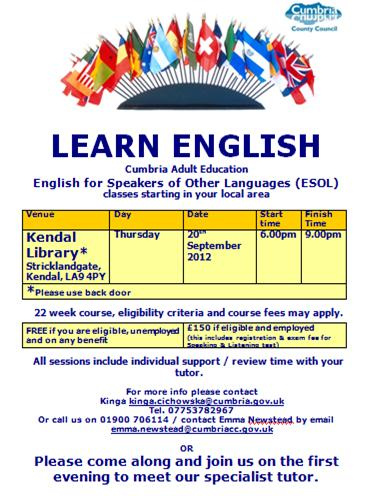 ESOL Classes Kendal 08.12