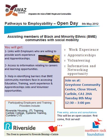 AWAZ Pathways to employability Open Day Poster